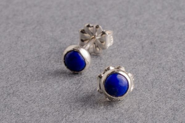 Lapis silver dot stud earrings