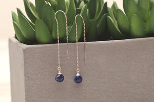 Lapis Lazuli drop sterling silver threader earrings - Amanda K Lockrow