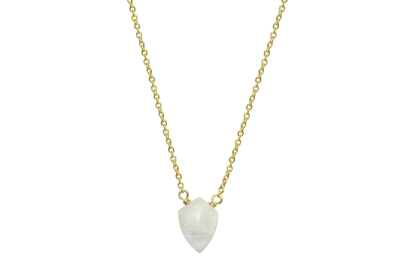 Rainbow moonstone little shield 14k yellow gold filled necklace - Little Rock collection necklace Amanda K Lockrow