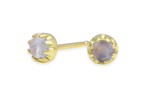 Rainbow moonstone 14K yellow gold stud earrings
