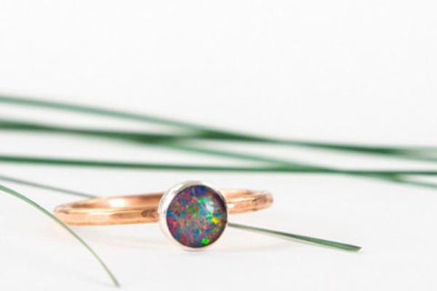 14k rose gold opal ring