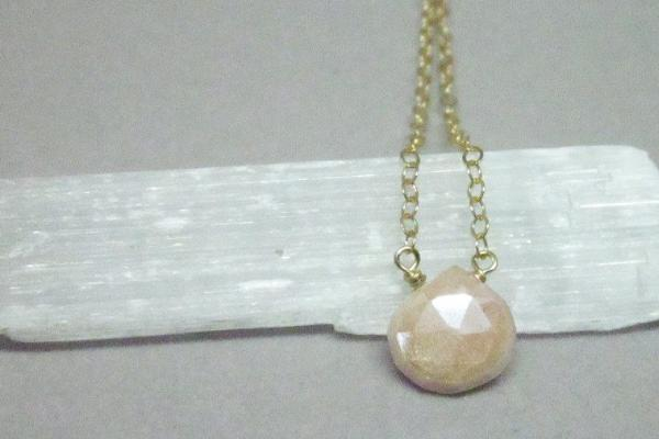 Dainty pink moonstone 14K gold filled necklace // bridesmaid gift