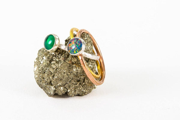 14k gold & silver opal ring