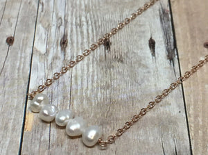Elements- Pearl 5 stone rose gold filled necklace - Amanda K Lockrow