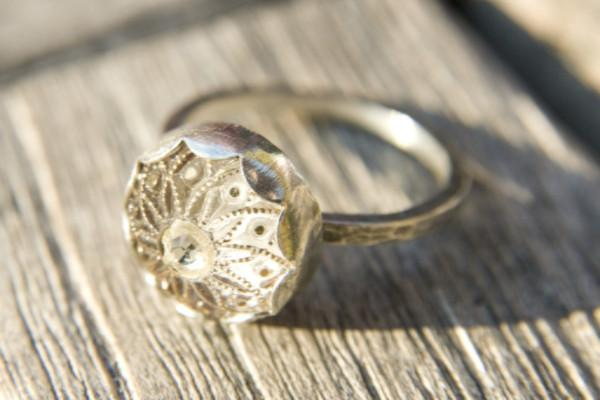 Dainty golden flower vintage button ring - Amanda K Lockrow