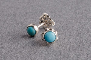 Turquoise silver dot stud earrings - Amanda K Lockrow