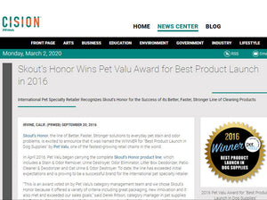 Skout's Honor Wins Pet Valu Award for Best Product Launch of the Year!