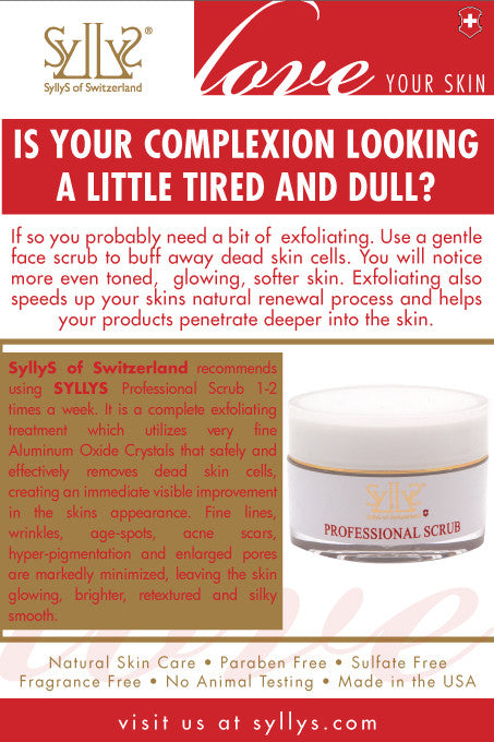 A red and white looking pamphlet with the image of SyllyS's professional scrub with an explanation of wha exfoliating does and the specific benefits of what is and using Sylly's Professional Facial Scrub