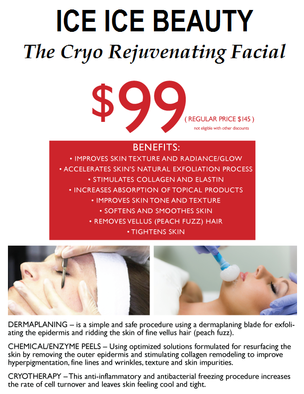 "A pamphlet representing the SyllyS of Switzerland summer special called ""Ice Beauty The Cryo Rejuvenating Facial"" for $99 explaning benefitswith images dermblading technique and the cryotherapy technique on a woman's face."