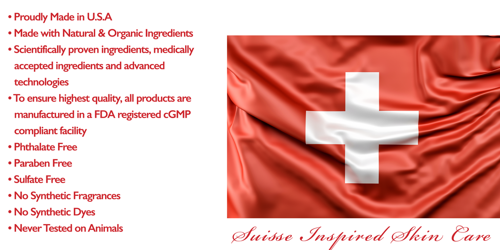 A Swiss flag image on silk fabric with red bullet points left to it to represent what SyllyS of Switzerland Skin Care Products represent and made of such as Made in USA, Scientifically Proven formula, Natural & Organic Ingredients, Cruelty Free & much mor