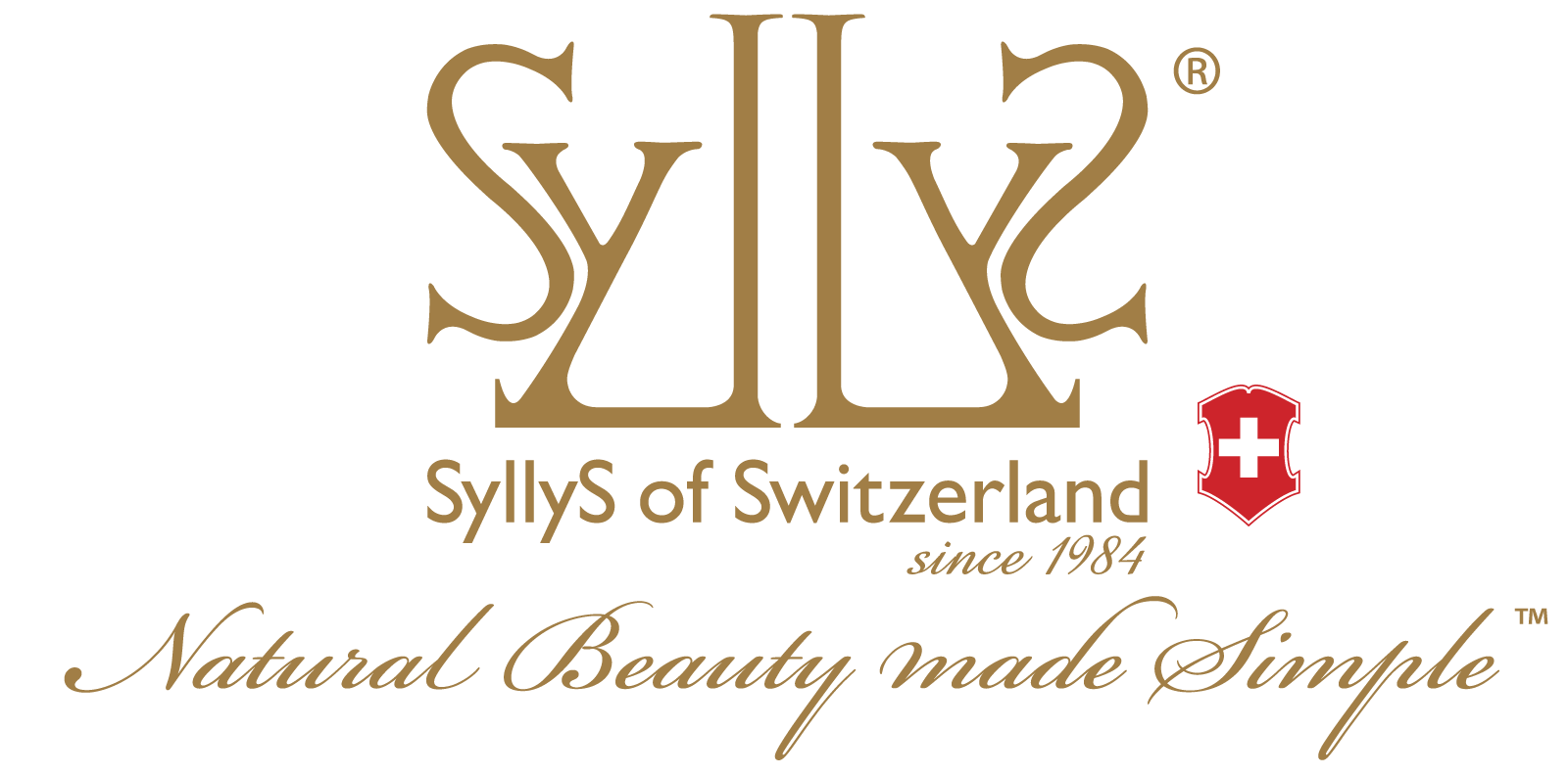 Gold colored mark with stylized letters Syllys. Below the logo is the full brand name in small gold Arial text Syllys of Switzerland since 1984 with the Swiss emblem right next to it. Underneath in cursive gold is the slogan Natural Beauty Made Simple