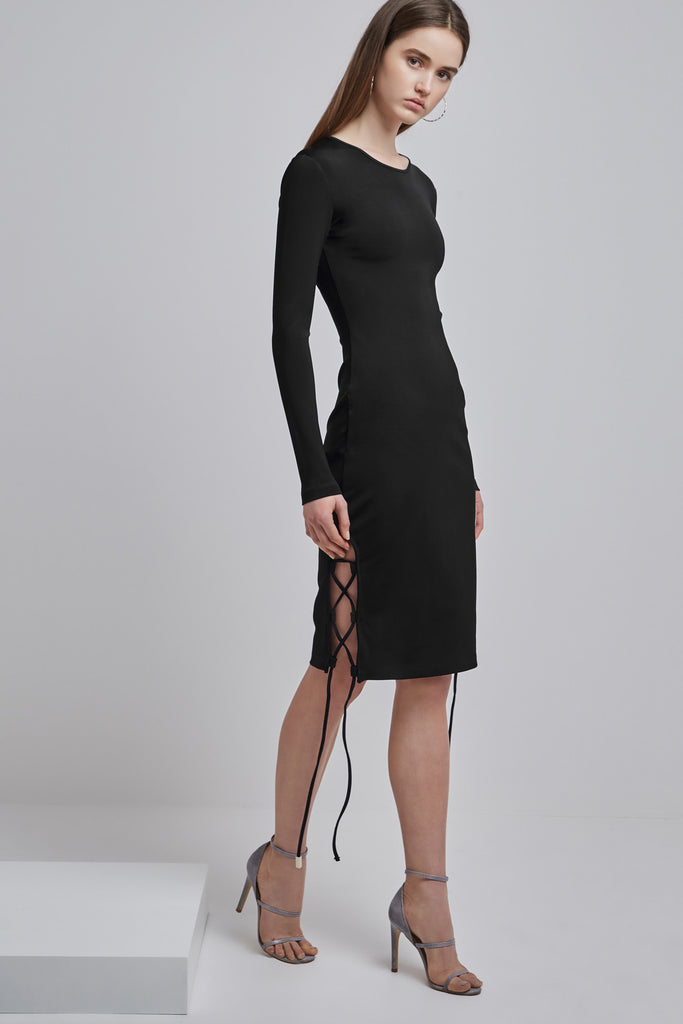 WESTON LONG SLEEVE DRESS black