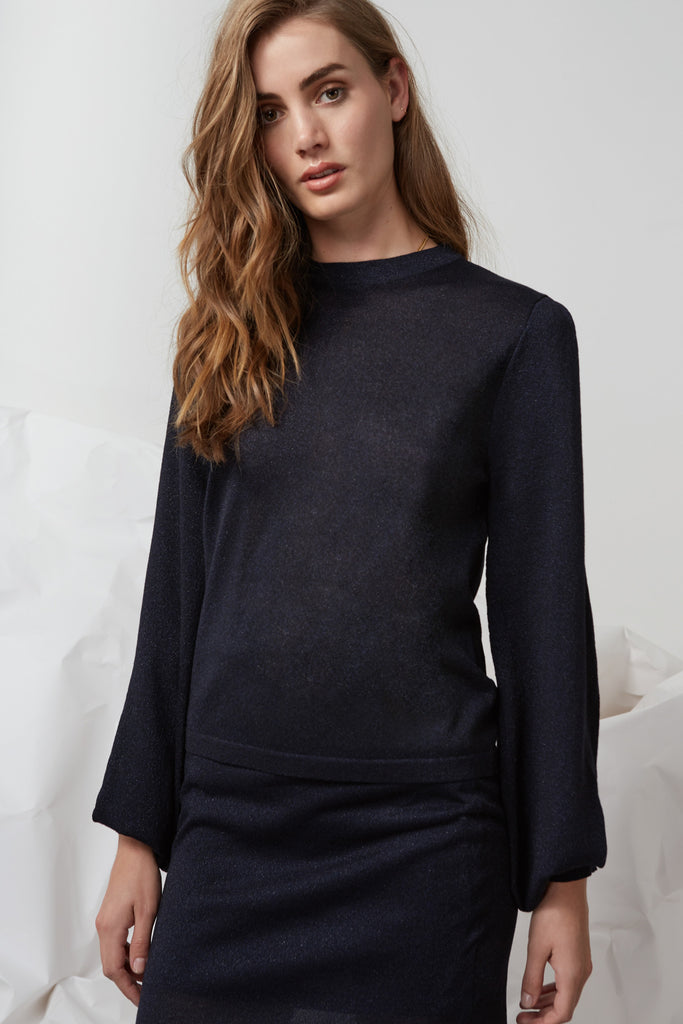 FOLDS LONG SLEEVE KNIT JUMPER navy