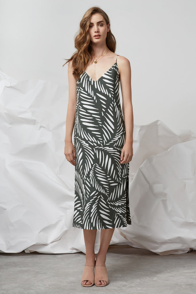 KNOX DRESS-PRINT khaki base leaf print