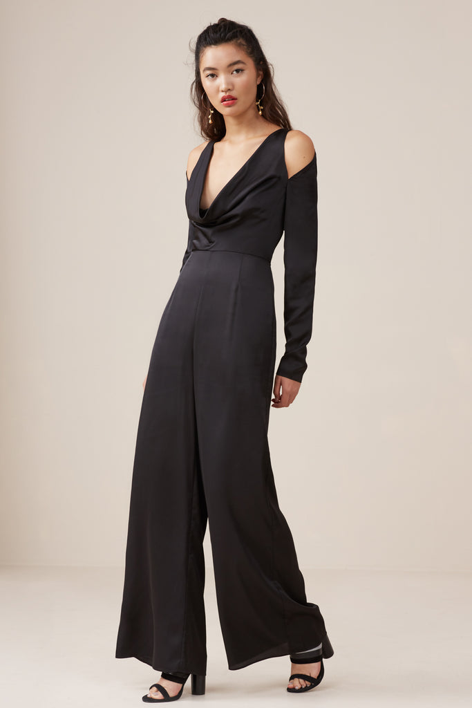 ASPECTS LONG SLEEVE JUMPSUIT black