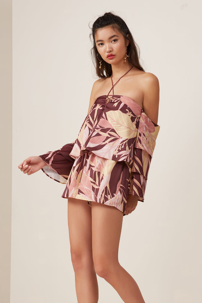 BLOOM FRILL TOP fig floral