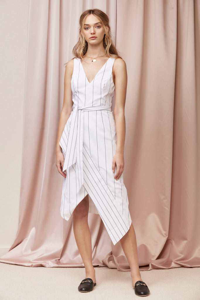 ALPS DRESS ivory base stripe