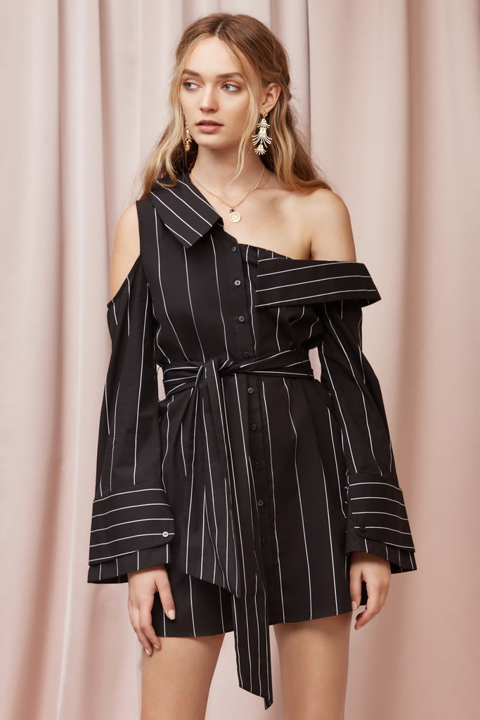 ALPS SHIRT DRESS black base stripe
