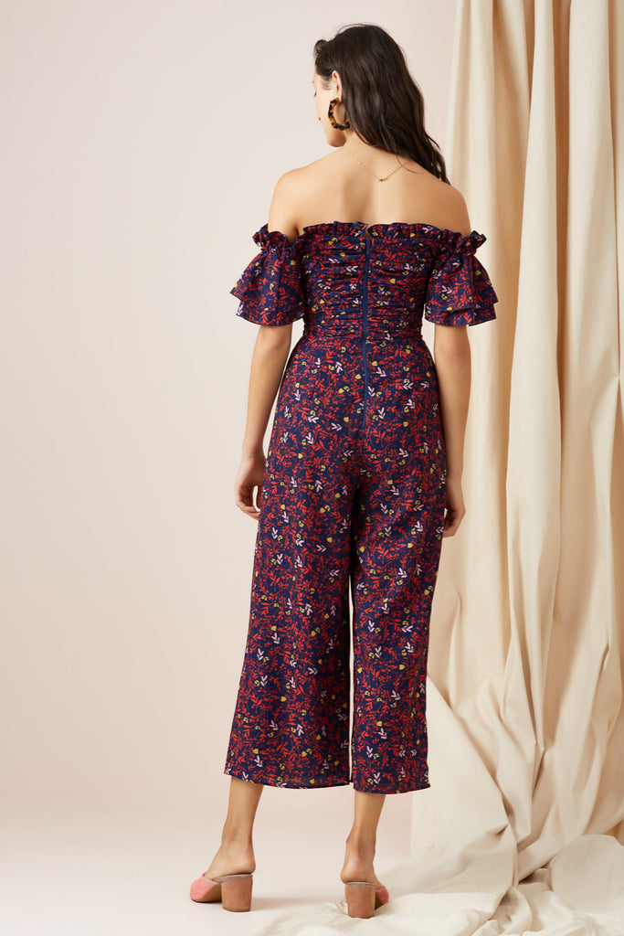 FADED JUMPSUIT navy ditsy