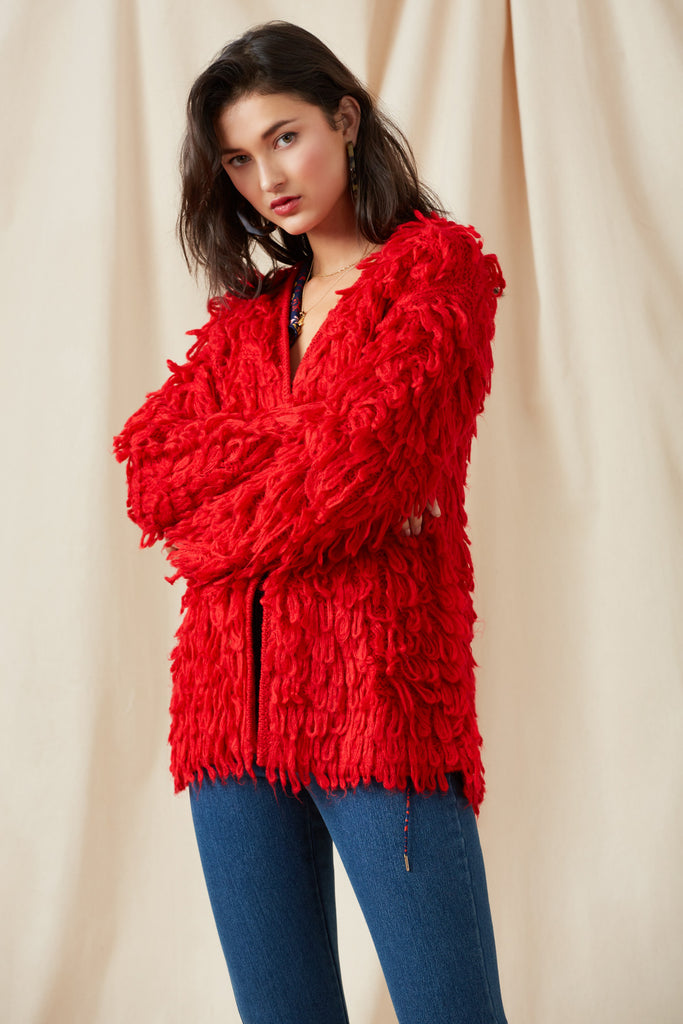 SEASONS CARDIGAN red