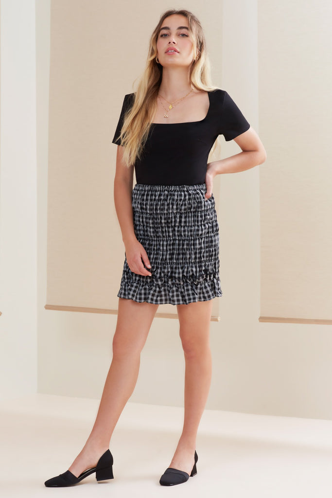 MERCI SKIRT black check