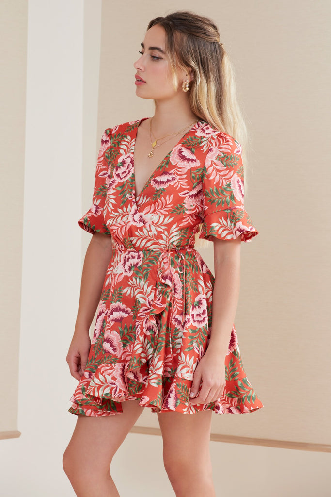 SONGBIRD WRAP DRESS bronze floral