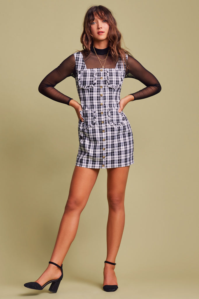 DOWNTOWN DRESS black tartan