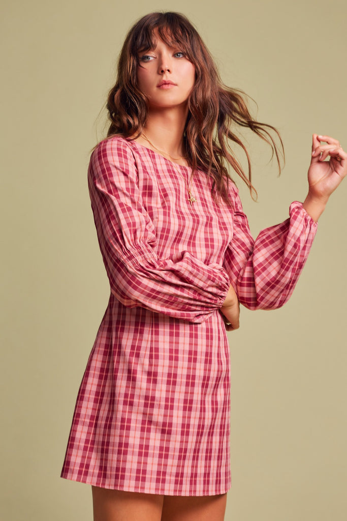 DOWNTOWN LONG SLEEVE DRESS pink tartan