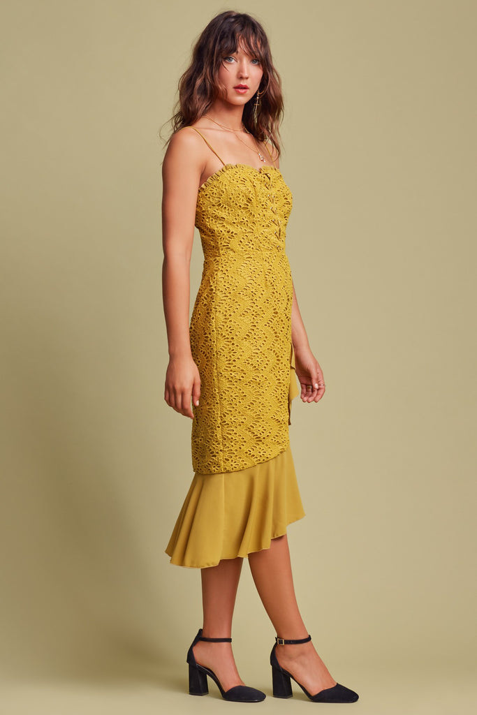 SUNSEEKER MIDI DRESS chartreuse