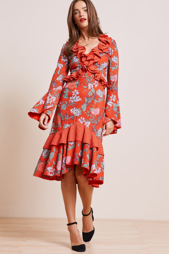 ASTRAL DRESS red floral