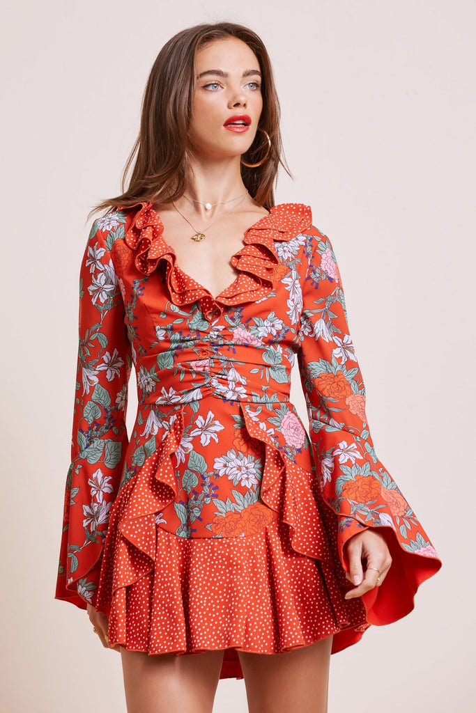 ASTRAL MINI DRESS red floral