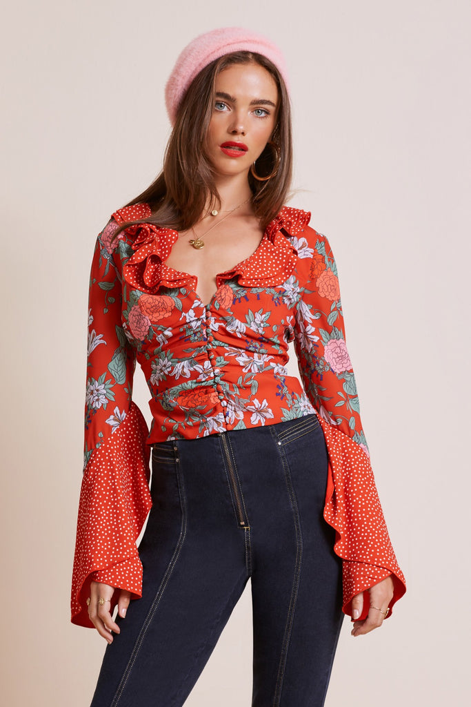 ASTRAL TOP red floral