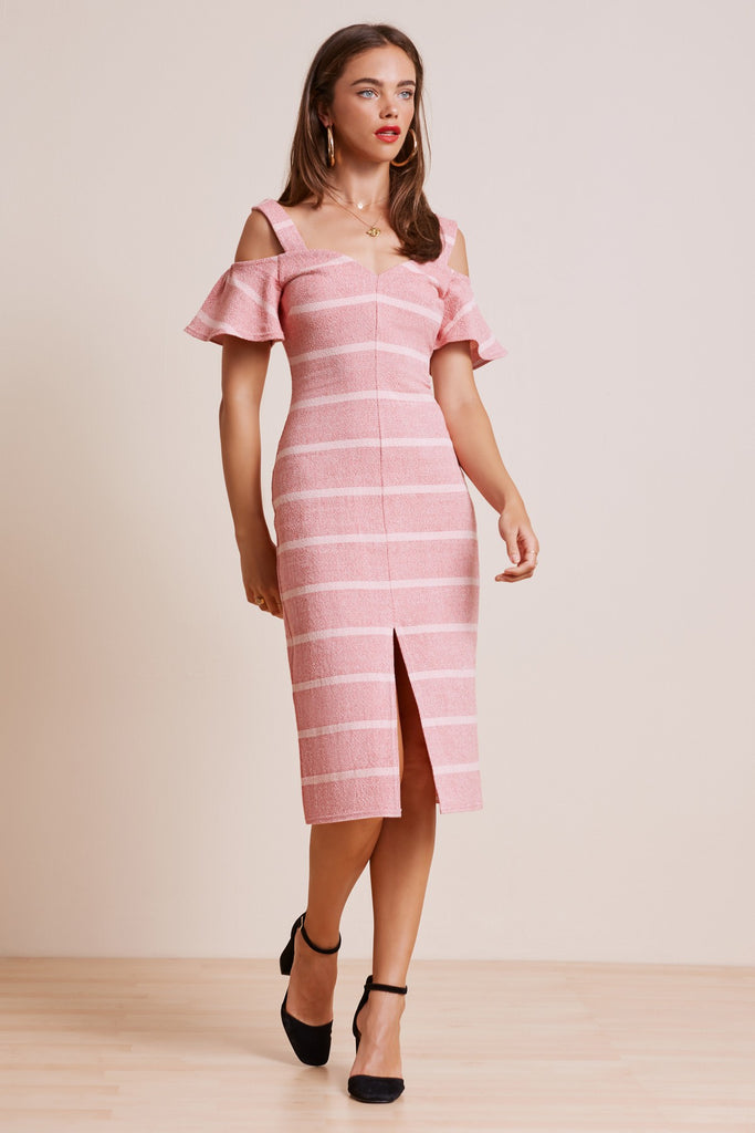 DESTINATION DRESS red w pink stripe