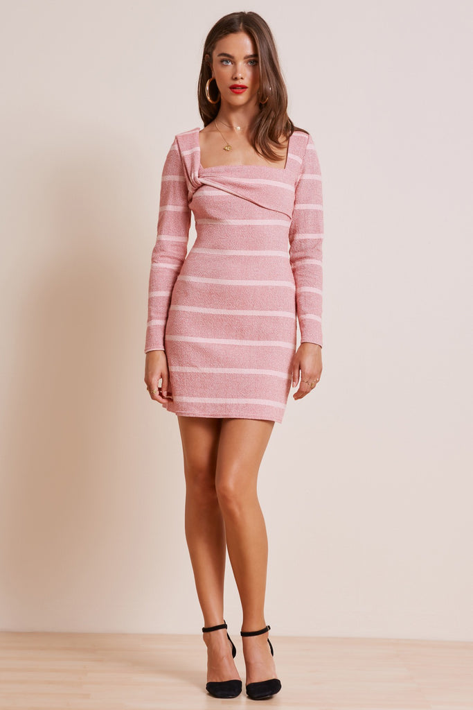 DESTINATION LONG SLEEVE DRESS red w pink stripe