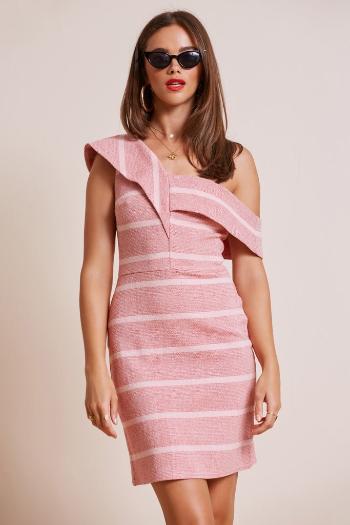 DESTINATION MINI DRESS red w pink stripe