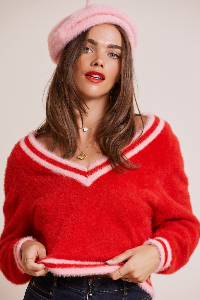 JAZZ KNIT red w blossom