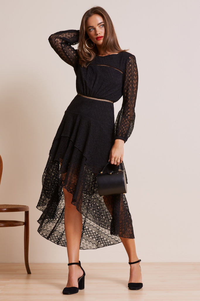 NIGHTLIGHTS LONG SLEEVE DRESS black