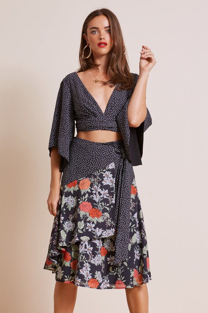 ASTRAL SKIRT black floral