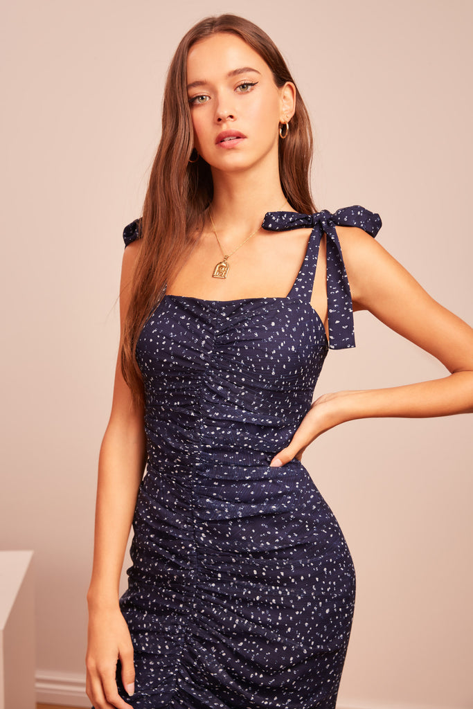 LOCALES DRESS navy speckle