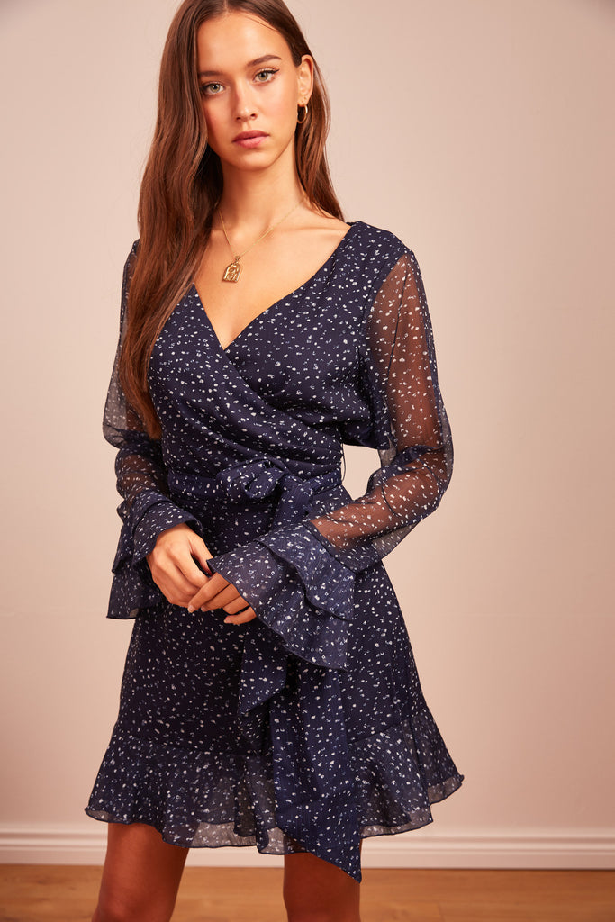 LOCALES LONG SLEEVE MINI DRESS navy speckle