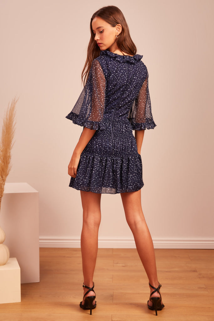 LOCALES MINI DRESS navy speckle