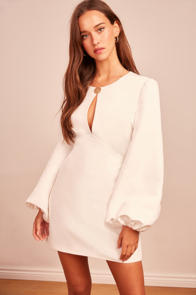 POMPEII LONG SLEEVE DRESS ivory