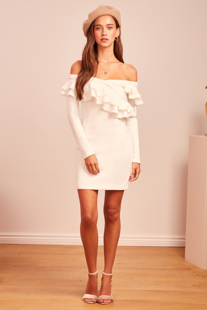 SEEKING LONG SLEEVE MINI DRESS ivory