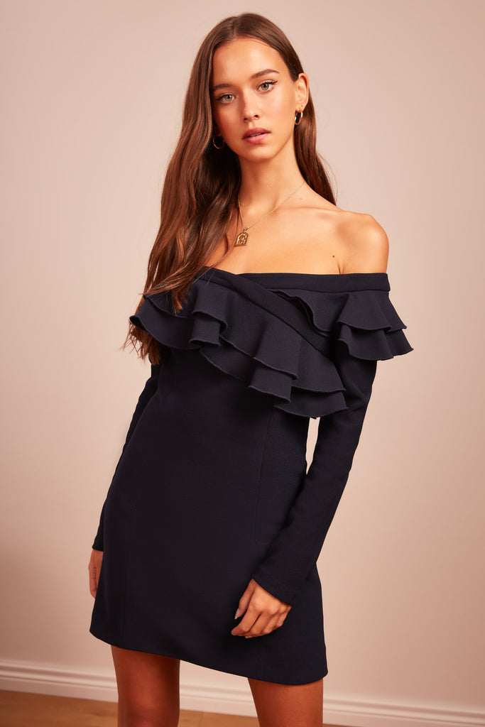 SEEKING LONG SLEEVE MINI DRESS navy