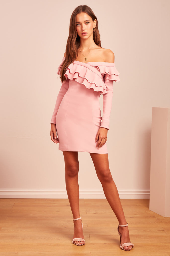 SEEKING LONG SLEEVE MINI DRESS pink