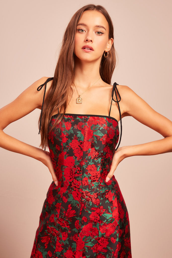VOYAGER MINI DRESS red rose