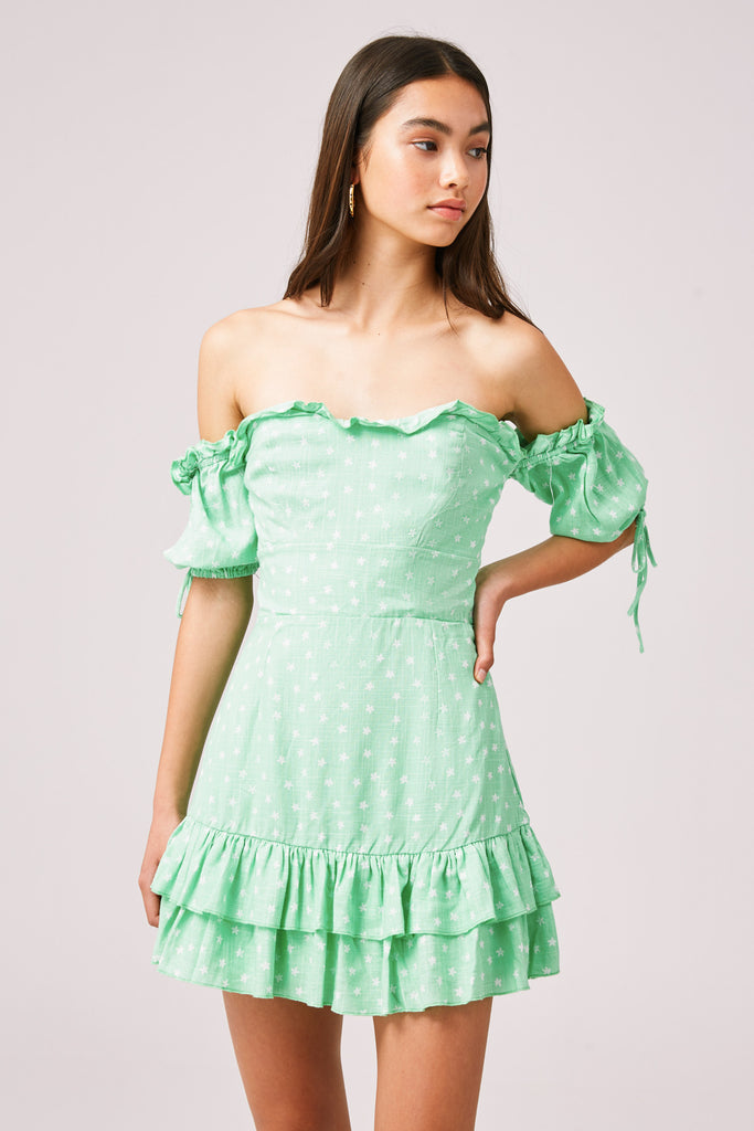 WILDFLOWER MINI DRESS mint ditsy