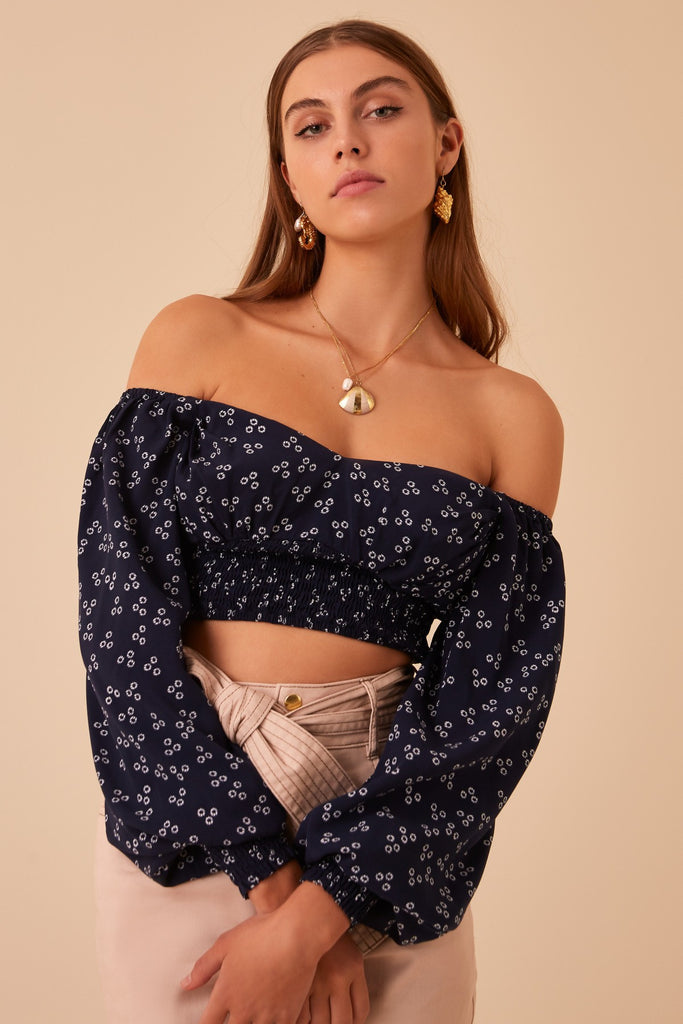 FRIDA LONG SLEEVE TOP navy ditsy doo