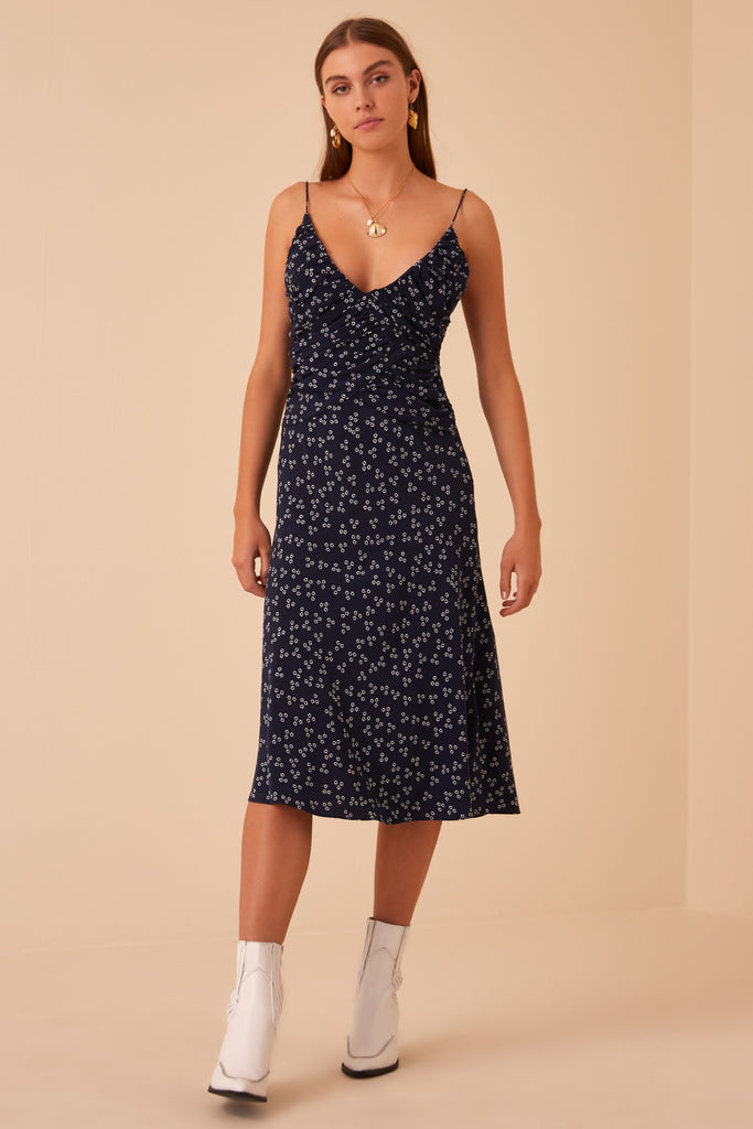 FRIDA DRESS navy ditsy doo