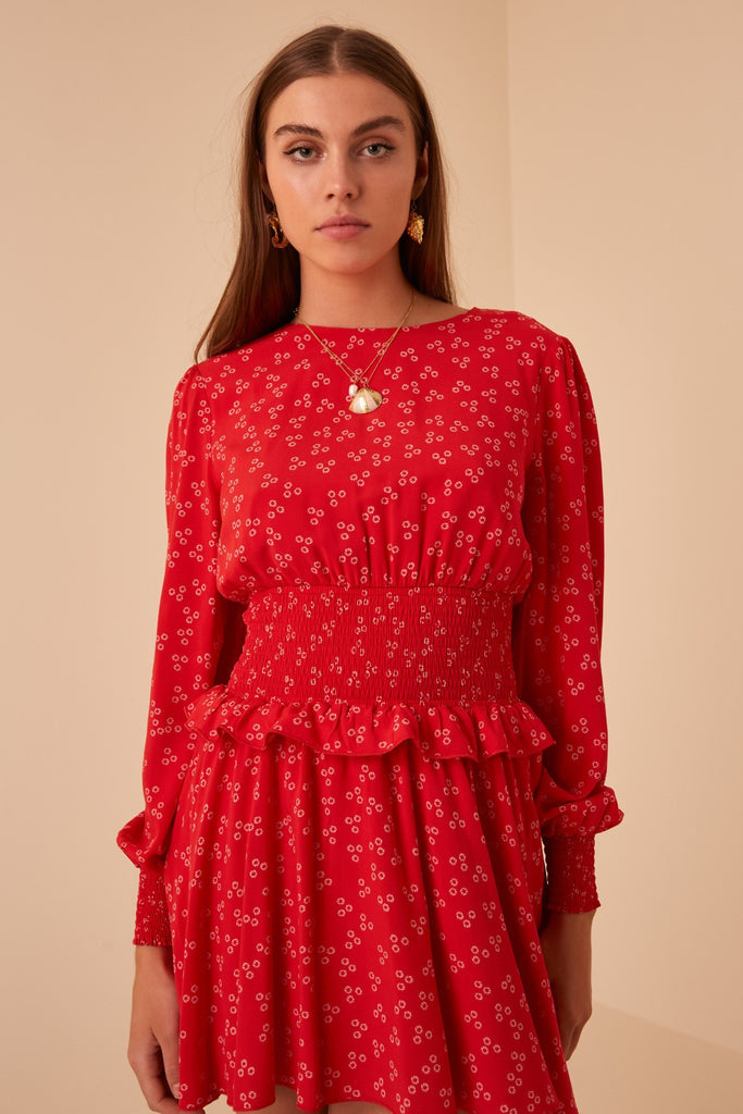 FRIDA LONG SLEEVE DRESS red ditsy doo